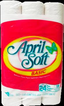 A1785 : April soft A1785 : Produits ménagers - Papier hygiénique - Pap.hyg. (2 Plys-135 F/rlx) APRIL SOFT, PAP.HYG. (2 PLYS-135 F/RLX) ,4 x 24 RLX