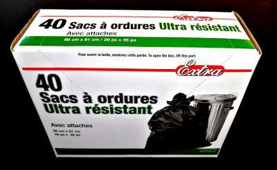 A180 : Extra A180 : Produits ménagers - Sacs à ordures - Sac Ord Ext. (26 X 36) BoÎte EXTRA, SAC ORD EXT. (26 x 36) BOÎTE,10 x (40 un/bte