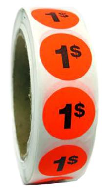 PR001 : Rouleaux 1$ fluo PR001 : Accessoires & fournitures - Autocollants à rabais - 1000eti/rlx ROULEAUX 1$ FLUO, 1000eti/RLX